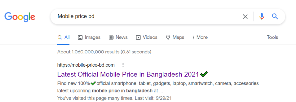 go to google and search bar search mobile price bd like under picture